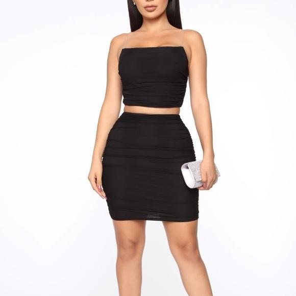 Fashion Nova Dresses & Skirts - Black two piece mesh skirt set